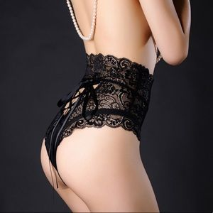 Women's Sexy Sheer Lace Up Back High Waist Panty S